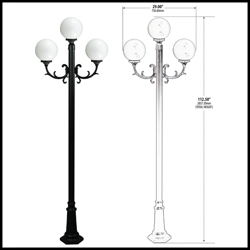 3 lamp globe light post fixture click to enlarge aloadofball