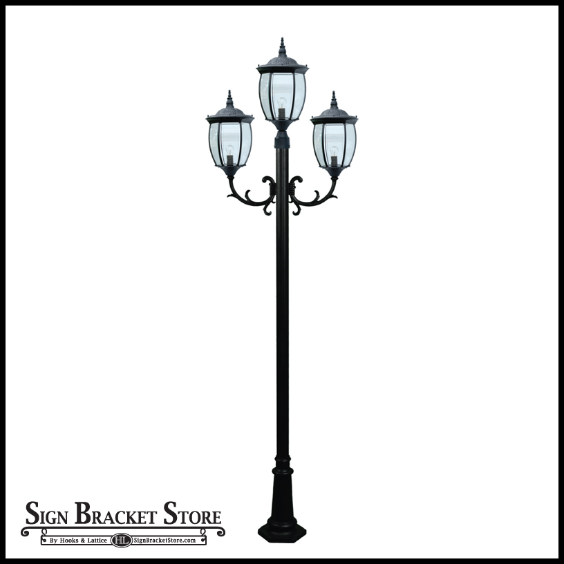 Outdoor victorian style post light 3 lamps 120v powder coated cast aluminum 3 lamp victorian outdoor lamp post click to enlarge workwithnaturefo