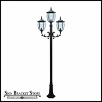 120v Powder Coated Cast Aluminum 3-Lamp Victorian Outdoor Lamp Post