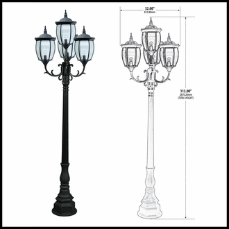 120v Powder Coated Cast Aluminum 4-Lamp Victorian Outdoor Lamp Post