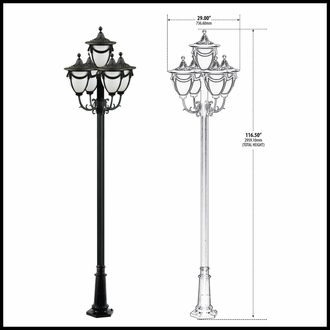 120v Powder Coated Cast Aluminum 5-Lamp Decorative Street Light