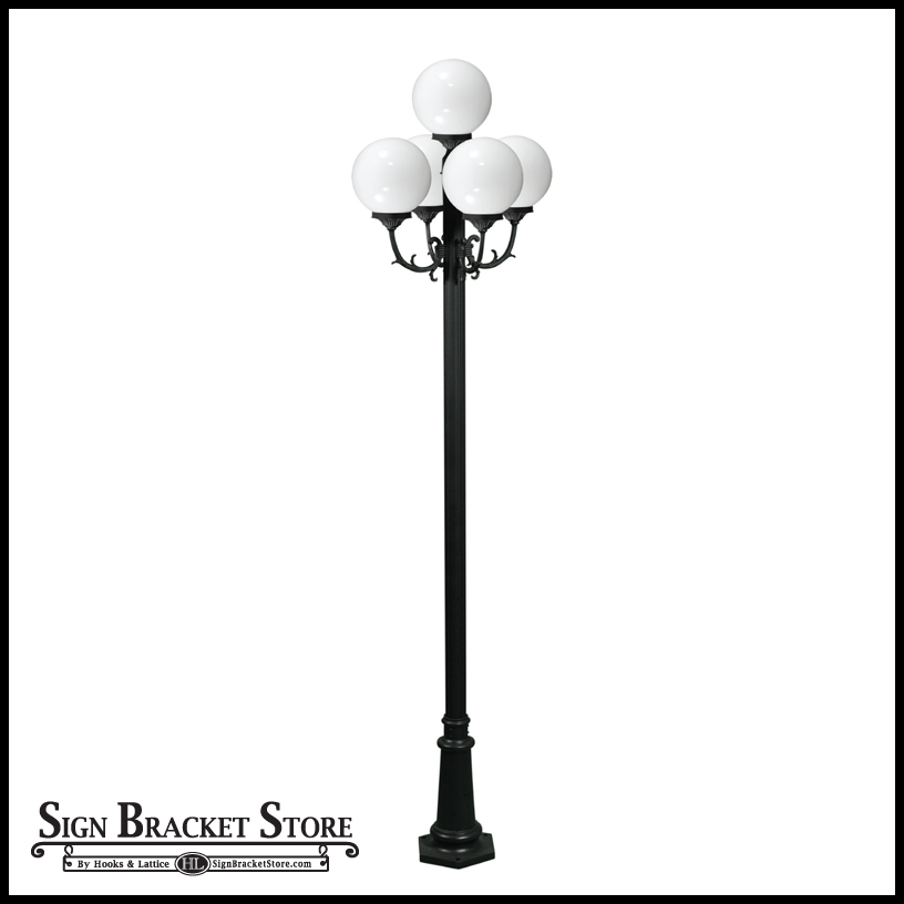 Bell Outdoor Post Lights: Globe Street Light, 5 Lamps