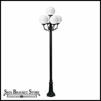 "120v Powder Coated Cast Aluminum 5-Lamp Globe Light Post Fixture | 10"" Globes"