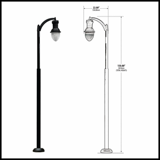 120v Powder Coated Cast Aluminum Basic Single Arm Large Lamp Post Fixture - Black Finish