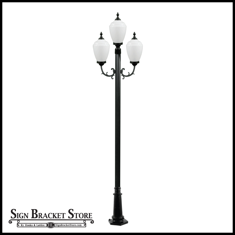outdoor pole light 3 lamps 120v