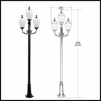 120v Powder Coated Cast Aluminum Exterior 3-Lamp Post Light Fixture