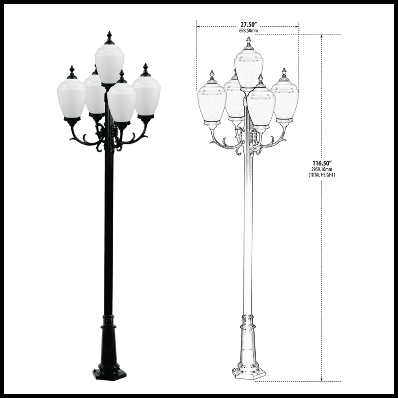 Decorative Pole Light with 5 Lamps 120v