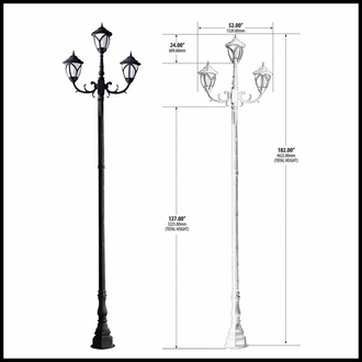 120v Powder Coated Cast Aluminum Large Lamp Post Fixture|3 Acorn Street Lights