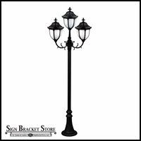 120v Powder Coated Cast Aluminum Old Time Outdoor Lamp Post - 3 Lights