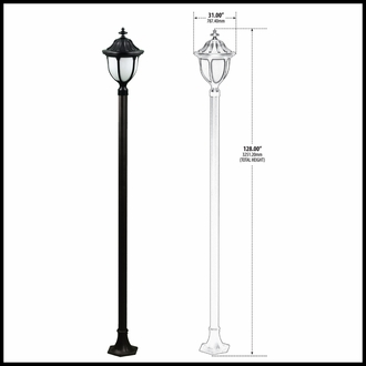 120v Powder Coated Cast Aluminum Old Time Outdoor Lamp Post