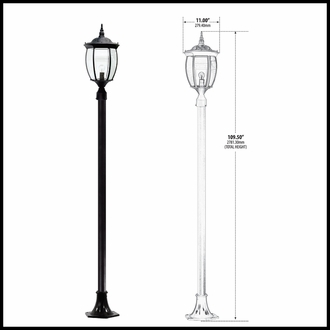 120v Powder Coated Cast Aluminum Victorian Outdoor Lamp Post