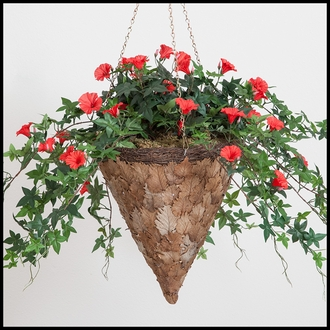 12in. Larkwood Pressed Leaf Cone Basket