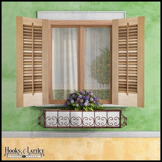 18in. Wide -Single Panel Exterior Plantation Shutters w/Operable Tilt Rod