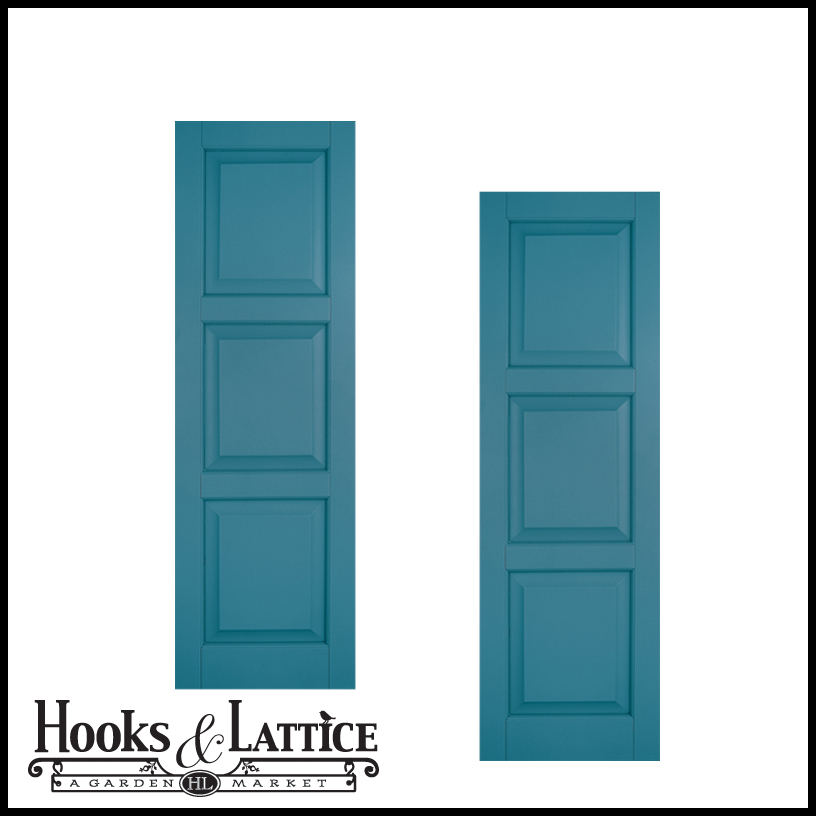 12in Wide Classic Collection Raised 3 Equal Panel Shutters Pair