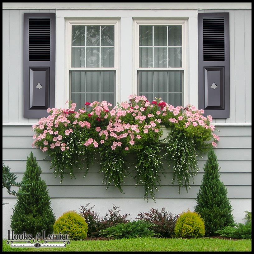 Painted Cedar Combination Shutters with Cutouts | Hooks & Lattice