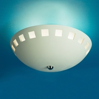 "13.5""  Ceramic Bowl Ceiling Light w/ Block Cut Out Rim"