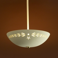 "13.5"" Ceramic Bowl Ceiling Light w/ Sprig Pattern"