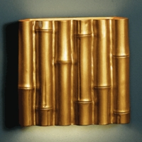 "13"" Fat Bamboo Reed Wall Sconce - Gold Finish"