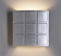 "13"" Square  Sconce with Raised Cubes - Metallic Silver"