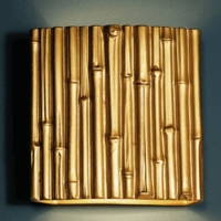 "13"" Thin Bamboo Reed Wall Sconce - Gold Finish"
