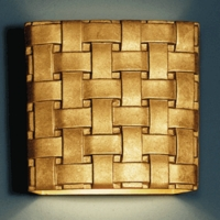 "13"" Woven Steel Wall Sconce - Gold Finish"