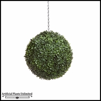 13in. Artificial Boxwood Hanging Sphere, Short Grain, Indoor Rated