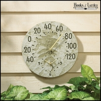 "14 1/2"" Fossil Sumac Thermometer Clock"