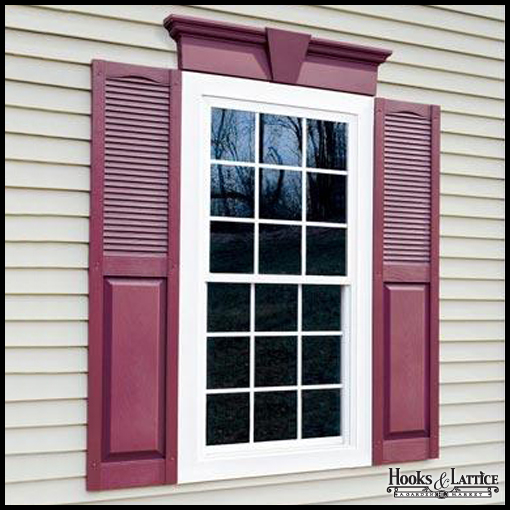 14 1 2in wide cathedral top vinyl combination louvered over panel exterior shutters custom for Custom made exterior vinyl shutters