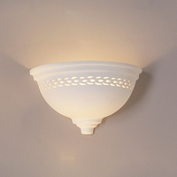 "14"" Deep Bowl Ceramic Sconce w/ Grooving Detail"