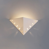 "14"" Inverted Pyramid Geometric Sconce w/ Vented Border"