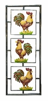 """14""""W x 37""""H Three Colorful Roosters Wall Art"""