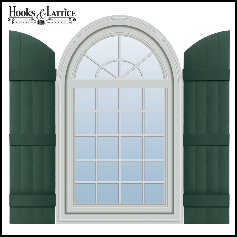 Vinyl Arched Window : Quot wide boards joined arch top shutter pair