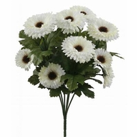 14in. Artificial Aster Bush, Outdoor Rated - Cream Flowers
