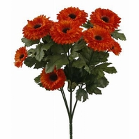 14in. Artificial Aster Bush, Outdoor Rated - Orange Flowers
