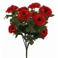 14in. Artificial Aster Bush, Outdoor Rated - Red Flowers