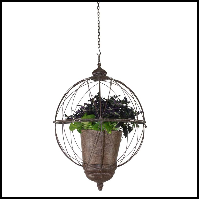 Hanging basket planter steel woven rattan coir hooks and lattice - Metal hanging planter ...