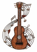 """15""""W x 22""""H Guitar with Musical Notes Wall Decor Art"""