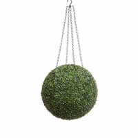 15in. Artificial Boxwood Hanging Sphere, Short Grain, Indoor Rated