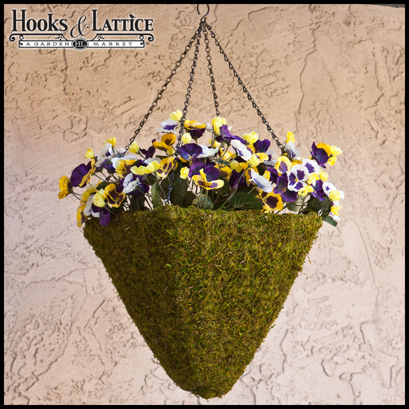 15in Moss Pyramid Hanging Basket W Chain Amp Moss Ball Plug