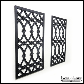 15in. Wide Baton Rouge Aluminum Decorative Shutters in Black - Pair