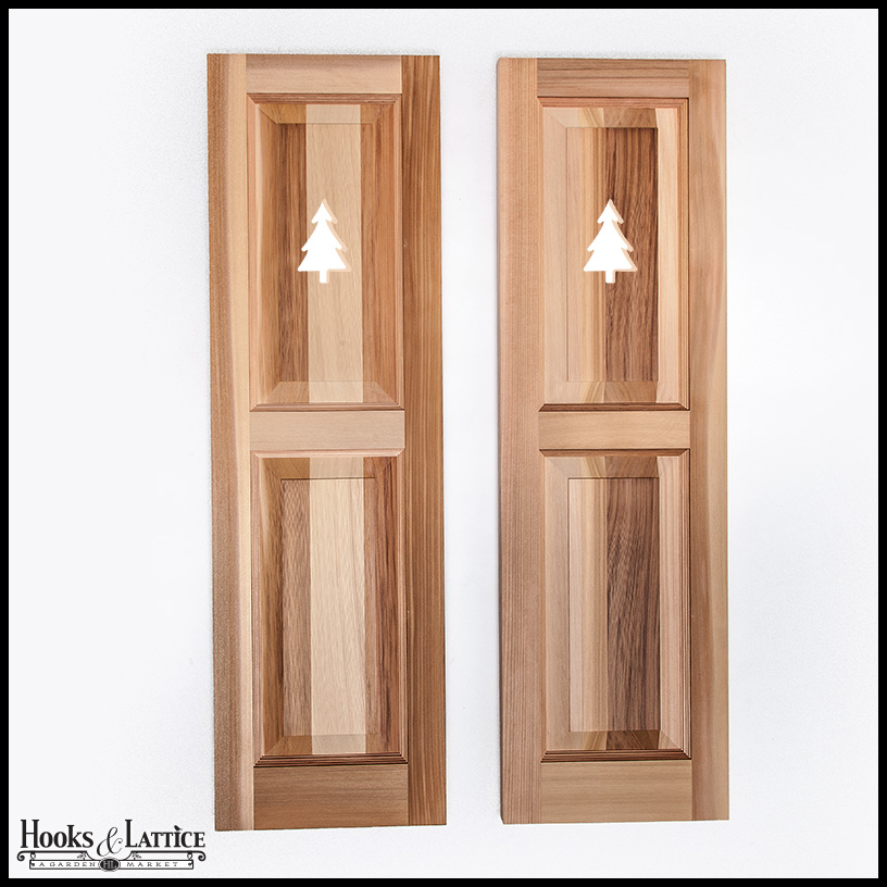 Cedar Two Equal Panel Design 18in Wide With Cut Out Design Exterior Shutter Pair