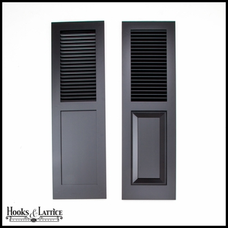 15in. Wide - Painted Cedar Combination Louvered over Panel Exterior Shutters (pair)