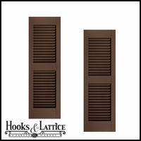 15in. Wide w/ Center Rail - Architectural Collection Fixed Louvered Composite Fiberglass Shutters (pair)