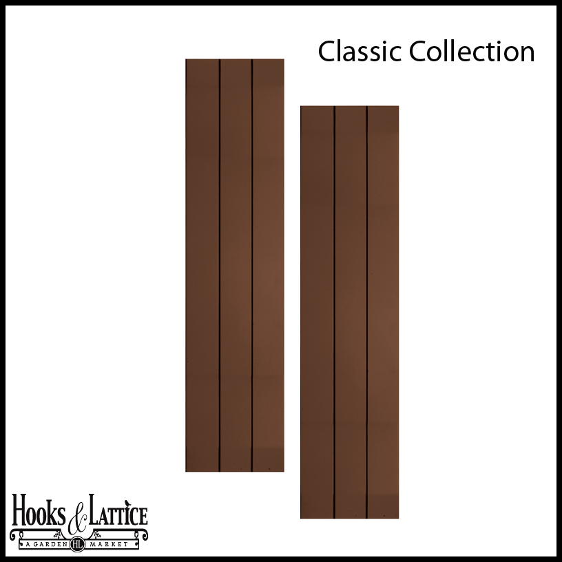15in Wide With 3 Boards Classic Collection Composite Board Batten V Groove Shutters Pair