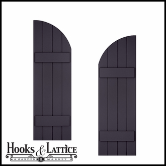 15in. Wide with 4 Boards and Arched Top - Classic Collection Composite Board & Batten Shutters (pair)