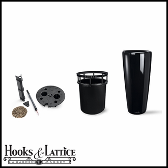 16in. Rondelle All-In-One Self-Watering Planter Set - Black