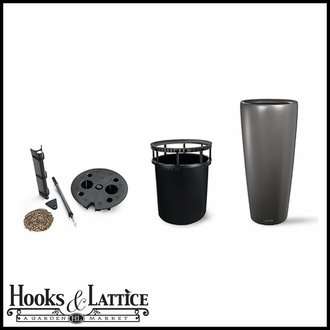 16in. Rondelle All-In-One Self-Watering Planter Set - Charcoal