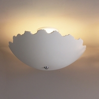 "18"" Cracked Eggshell Ceramic Ceiling Light"