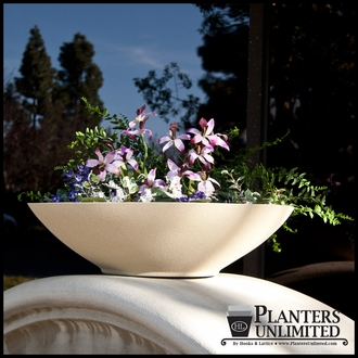"18""Dia. x 4""H Modern Low Bowl Fiberglass Planter"