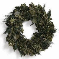 "18"" Dried & Preserved Olive Garden Wreath"